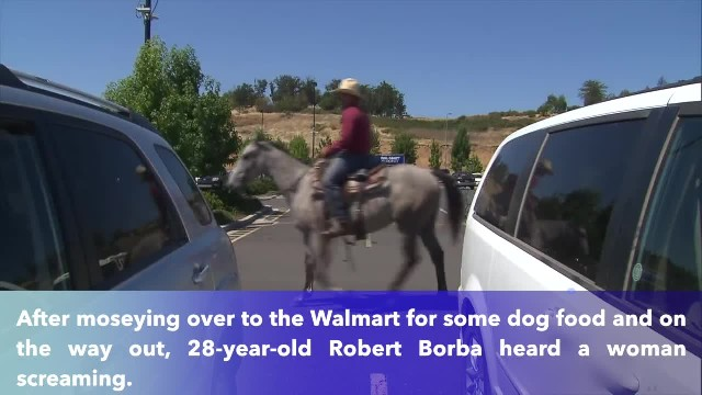 Thief attempts to take a woman's bike, but then a cowboy rides up on a horse to lasso him