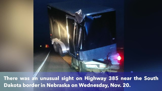 Trailer blows into pickup truck bed in Nebraska