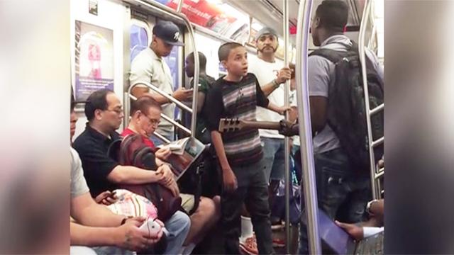 Boy breaks out into Ed Sheeran song on NYC subway, and the train goes quiet