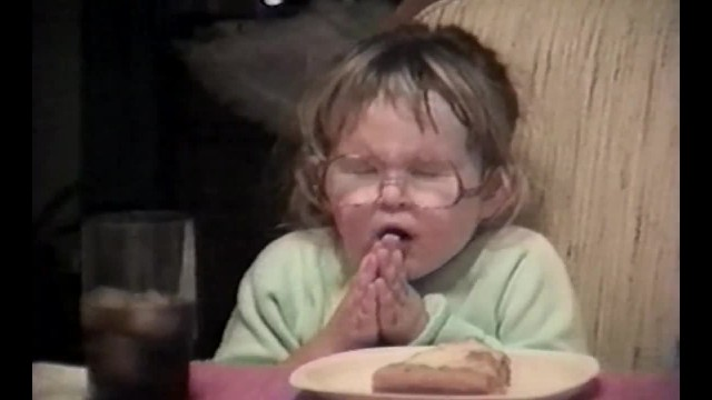 Her parents tell her it's time to pray for the holidays, now everyone is talking about it