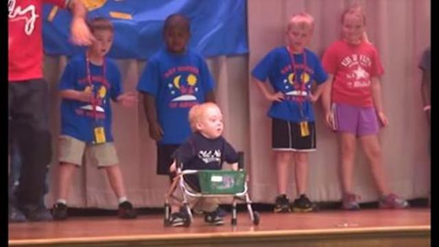 Boy in walker takes stage making everyone's eyes pop moment he unleashes furious dance moves