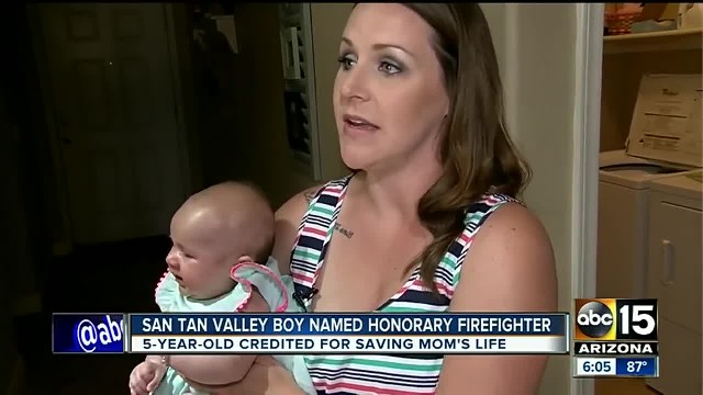 Heroic little boy carries baby sister to neighbor for help after mom had seizure in shower
