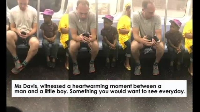 Heartwarming moment on the subway between a man and a little boy