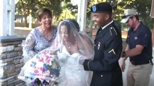 Bride has no idea Army son is standing right behind her to walk her down the aisle