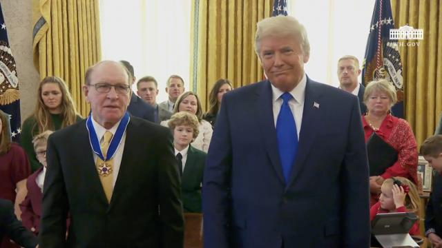 President Trump presents the presidential medal of freedom to Dan Gable