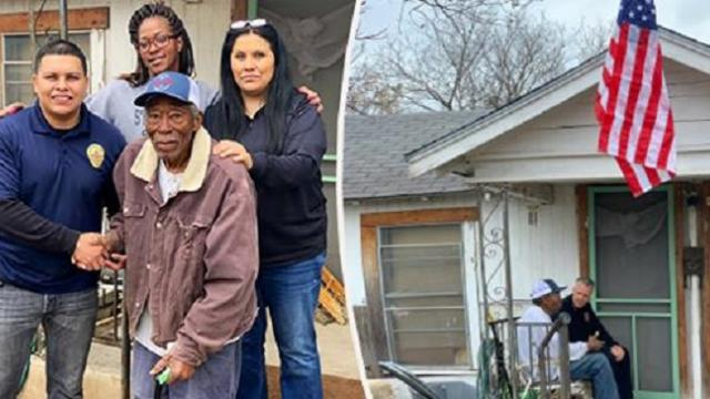 Cops find WWII vet using stove to heat house, and go above & beyond to warm his home