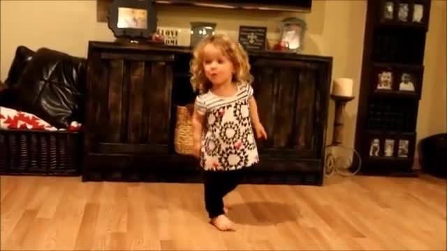 Her mom was filming her in the living room. When the music starts? You go girl!
