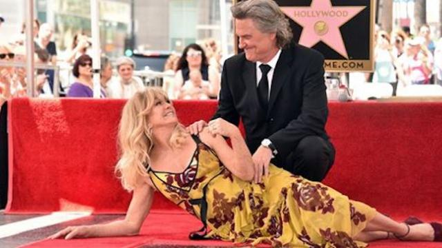 Iconic couple Goldie Hawn and Kurt Russell received adjoined Hollywood stars