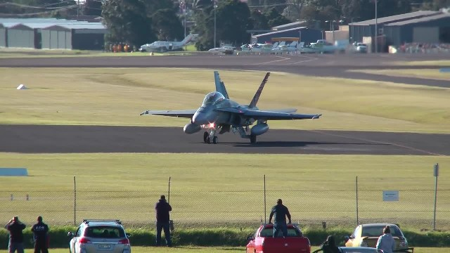F A-18 Hornets - 30-40 knot Cross Wind Take-Off