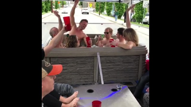 You can cruise through Nashville in an actual hot tub on wheels