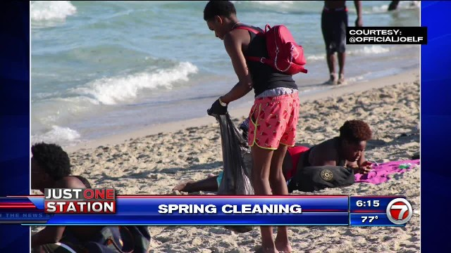 Photo of Georgia spring breaker picking up trash on Miami beach goes viral