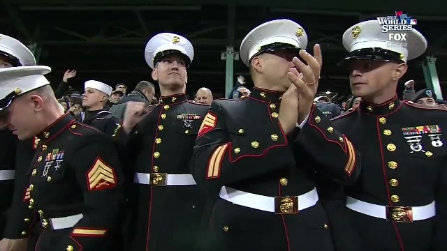Marine Sgt. sings during stretch