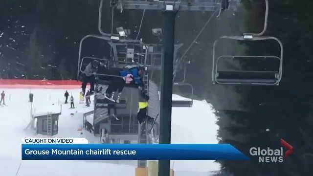 Boy dangling from chairlift saved by quick-thinking skiers in dramatic rescue