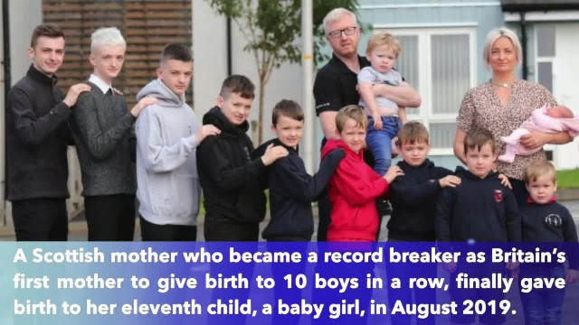 First mother in Britain to have 10 boys in a row finally welcomes baby girl