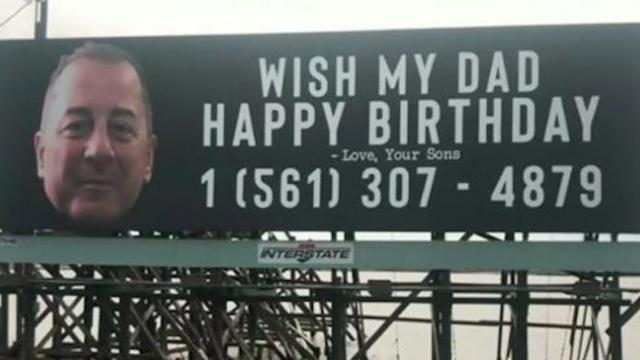 Sons buy billboard to celebrate dad's 62nd birthday, dad receives over 15,000 messages
