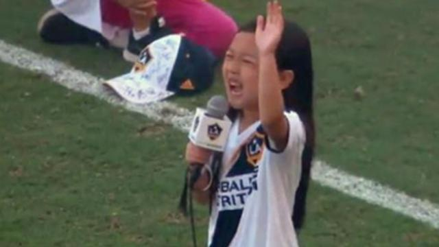 Talented 7-yr-old singer delivers incredible national anthem at L.A. Galaxy game.