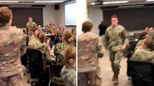 Lieutenant walks into military training class when soldier sees her face & takes off running