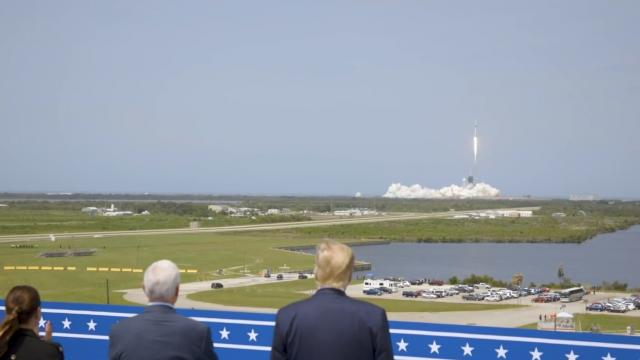 President Trump and VP Pence watch historic manned SpaceX Falcon 9 launch