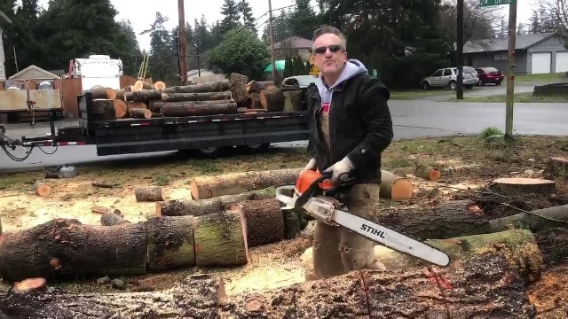 Single dad-of-six & twin sons spend months cutting up firewood worth $10K to give away to those in n