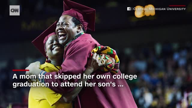 A mother skipped her own graduation to attend her son's. So his school decided to confer both their