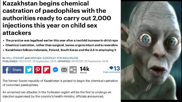Kazakhstan begins chemical castration of pedophiles