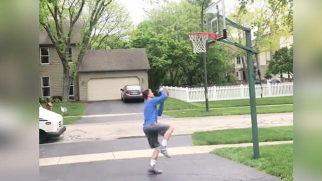 Mail Lady Hypes Kid While He's Playing Basketball & Her Reaction To His Dunk Is Gold