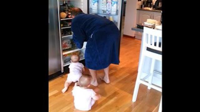 "Twins' ""ambush"" on daddy's breakfast has mom losing it running for the camera"
