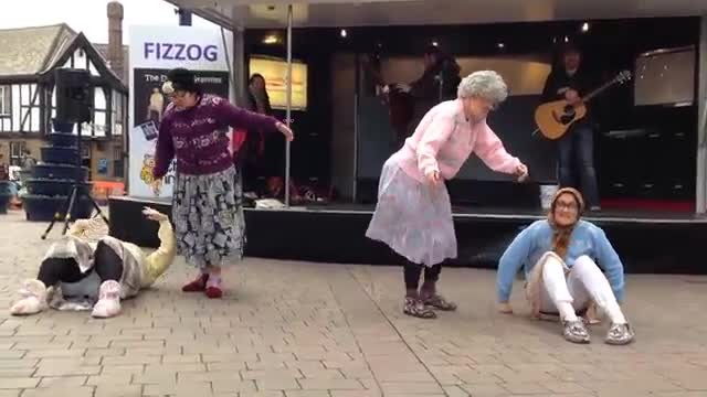 Crowd's Confused When 'Grannies' Drop To Ground But Soon Feisty Routine Has Everyone Rolling