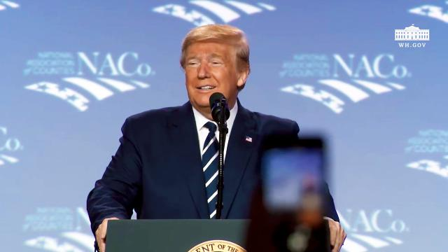 President Trump delivers remarks at the national association of counties legislative conference