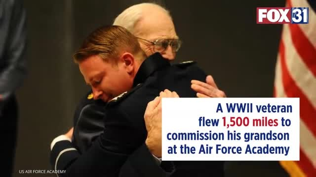101-year-old WWII veteran flew 1,500 miles to commission grandson at Air Force Academy