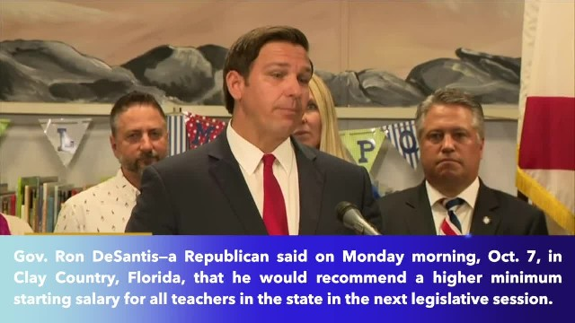 Florida governor recommends pay raise for teachers- minimum starting salary $47, 500