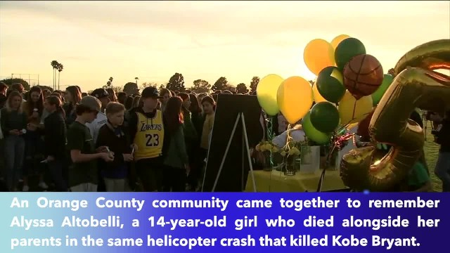 Vigil honors memory of Alyssa Altobelli, killed with her parents in helicopter crash with Kobe Bryan