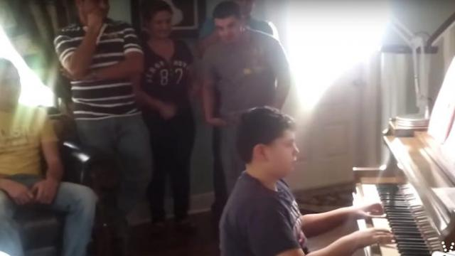 Boy gets surprise visit while playing 'America the Beautiful'