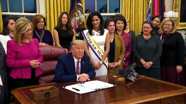 President Trump Participates in a Signing Ceremony for the Woman's Suffrage Centennial Coin Act