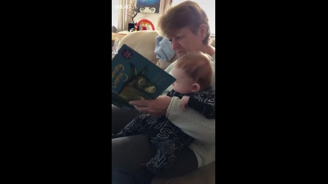 Granny laughing while reading book to grandson has internet laughing along with her