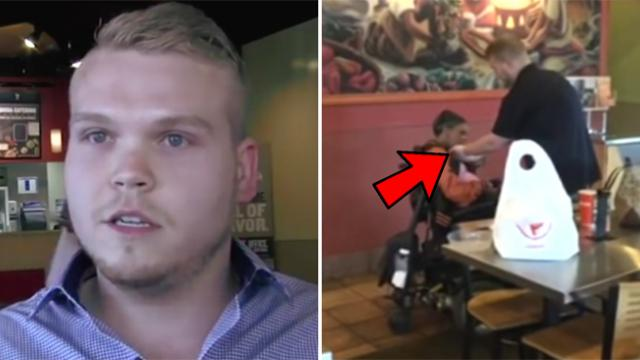Fast food employee caused a stir when he was caught on camera