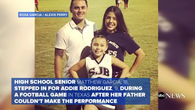 Young Cheerleader Cries During Daddy-Daughter Cheer Because Dad's Overseas, Then Stranger Hops Fence