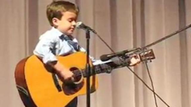Little boy says he sounds just like Johnny Cash, proving it within seconds as crowd jumps to their f