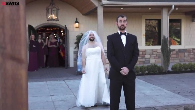 Groom Can't Contain His Laughter When Bearded Best Man Shows Up in the Dress Where His Bride Should