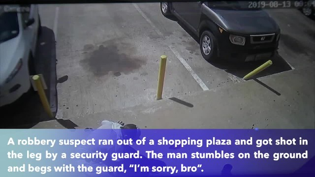 Robbery suspect begs with armed security guard after getting shot in the leg