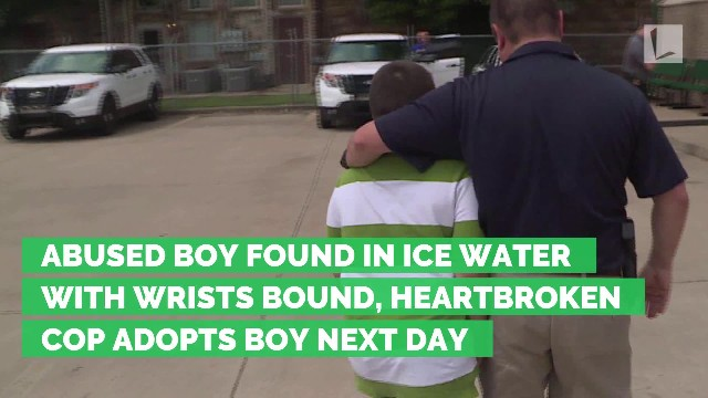 Abused boy found in ice water with wrists bound, heartbroken cop adopts boy next day