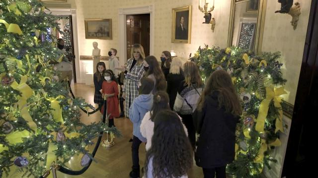 First Lady Melania Trump gives tour of White House Christmas decorations