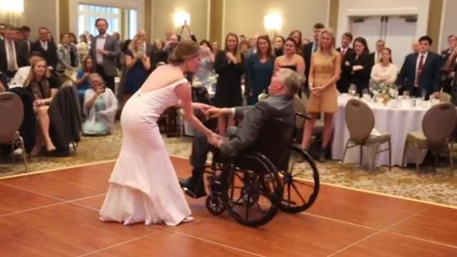 Emotional moment bride and her terminally ill father perform childhood dance routine at her wedding