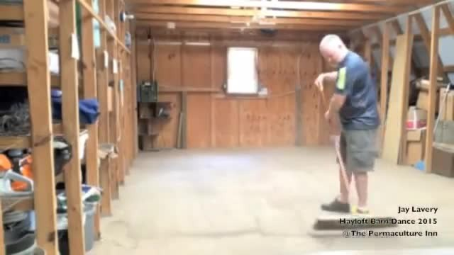 Farmer starts sweeping barn. Then music comes on and he bursts into hilarious dance routine