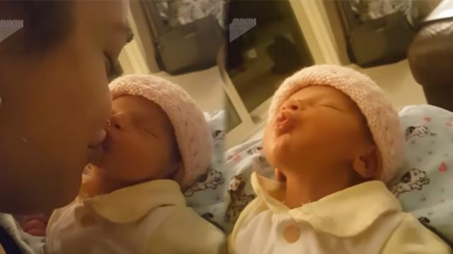 Newborn baby loves kisses so much, she had the funniest reaction