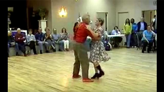 Laughter filled the room when they took the dance floor. Seconds later everyone's eyes go wide