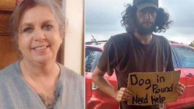 Kind lady reads a homeless man's sign and helps to get his pet from the pound