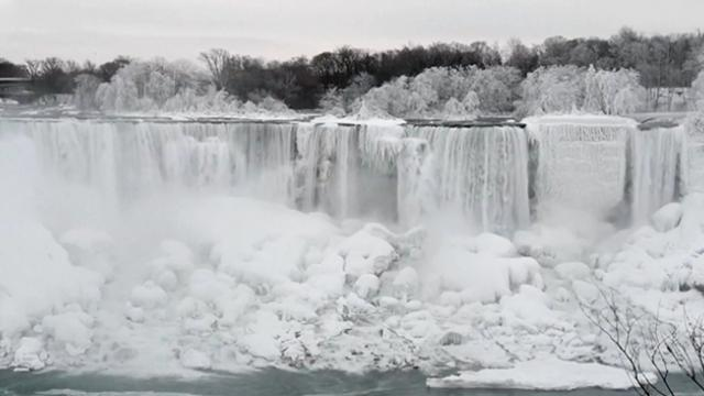 Parts of Niagara falls have frozen thanks to the extreme cold, and the views are majestic