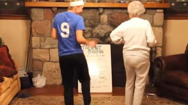 She invited grandma up to dance with her, never imagining she would steal the show like this