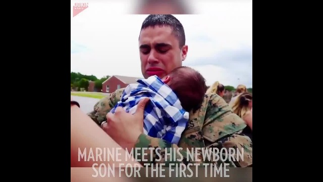 Marine hasn't seen wife in months weeping uncontrollably when he spots newborn in her arms